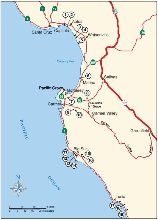 Map of Big Sur Campgrounds The Adventure Travelers